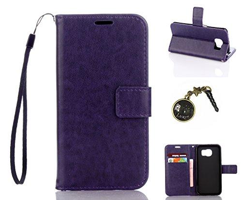Preisvergleich Produktbild für Smartphone Samsung Galaxy S6 Hülle,Echt Leder Tasche für Samsung Galaxy S6 Flip Cover Handyhülle Bookstyle mit Magnet Kartenfächer Standfunktion + Staubstecker (3DD)