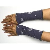 Stulpen in Wunschfarben gefüttert Armstulpen Handstulpen WendeStulpen Handschmuck Baumwoll-Jersey grau Pusteblume