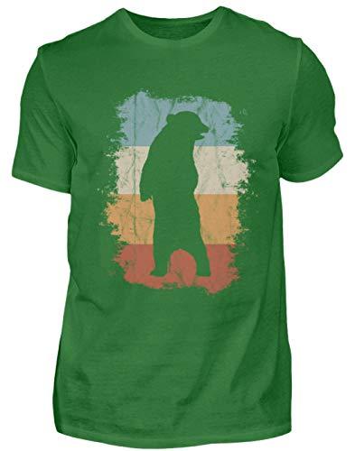 Aufrecht stehender Retro Grizzly Bär Silhouette für Braunbären Fans und Wildnis-Freunde - Herren Shirt -XXL-Kelly Green - 70er-jahre-kelly-grün