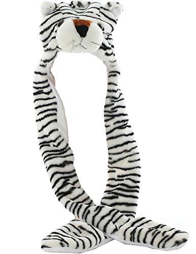 Weißen Tiger Plüsch Kostüm - JOYHY Unisex Kinder Winter Plüsch Kostüm Hut mit Pfoten Tier Hüte Weiß Tiger