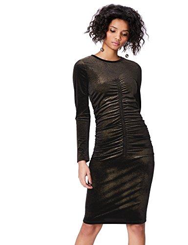 FIND Vestido Metálico para Mujer , Negro (Black/gold), 42 (Talla del Fabricante: Large)