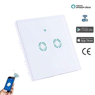 Smart WIFI Schalter Wlan Wandleuchte Lichtschalter 2 Gang Wireless Glas Touch Panel Platte kompatibel mit Alexa Echo Fernbedienung Lichter