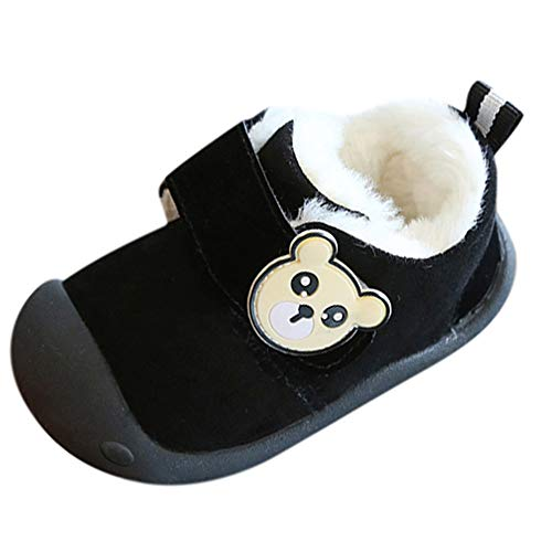 Binggong Chaussures Bébé Chaussures Bébé en Cuir Souple Premier Pas Chausson Cuir Bébé Fille Chaussure Fille Bottines Fourrure Chaudes Antidérapante Chaussures d'hiver pour Enfants