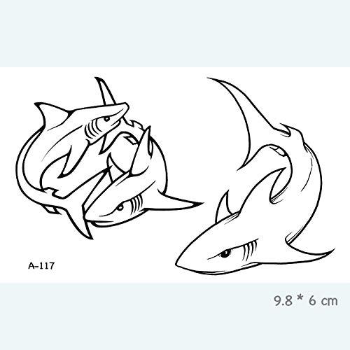 Temporäre Tattoo-Aufkleber Shark Wasserdicht Temporäre Tätowierung Aufkleber Für Erwachsene Kinder Kunst Gefälschte Tätowierung Für Frauen Männer Tattoos 10,5X6 cm 8 Stück