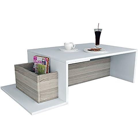 AlphaMoebel Pot - Tavolino, Tavolo da salotto, bianco/cordoba
