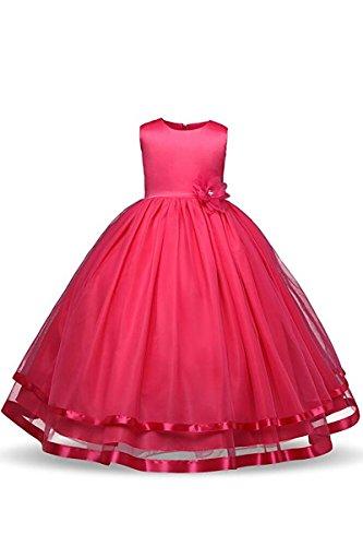 YMING Kinder Kleider Festlich Brautjungfern Kleid Prinzessin Hochzeit Party Kleid Tütü Kleid,Fuchsia,2-3 Jahre (Tutu Fuchsia Mädchen Organza)