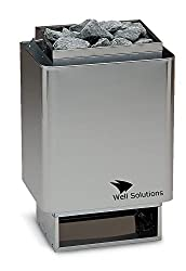 Well Solutions® 34A Saunaofen 7,5 kW, Made in Germany, Wandausführung, Edelstahl inkl. Steine