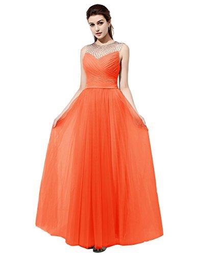 Dresstells Robe de cérémonie Robe de demoiselle d'honneur en mousseline tulle longueur ras du sol Orange