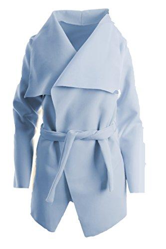 Italien Damen Mantel Trenchcoat mit Gürtel One Size Kurz (hellblau)