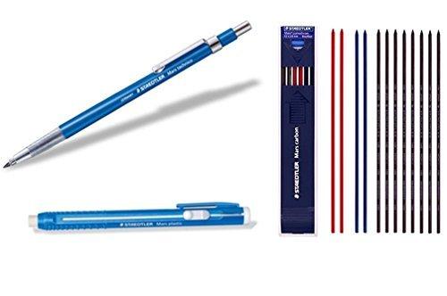 Staedtler Mars Schreiben Supplies Set komponiert von withjenny–Minenhalter (780C), Stick Radierer (52850) und Leine 2mm HB 1Dutzend Mix Farbe (8schwarz + 2rot + 2blau) (Gefütterte Vintage Clutch)