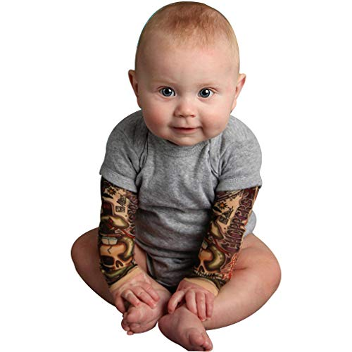 Bebé recién Nacido Tatuaje Impreso Body Manga Larga otoño Mono Patchwork Gris 3-6 Meses