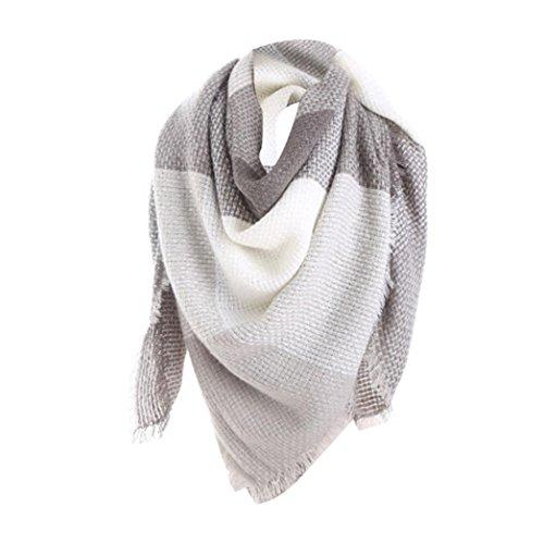 LCLrute Frauen-bunte Stich-lange Kaschmir-Wollschal-Plaid-Hals-Schal (Grau) (Crochet Womens Hüte Winter)