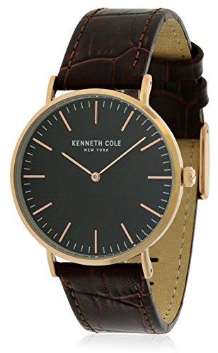 Kenneth Cole Homme Bracelet Cuir Marron Boitier Ton-Or - en Acier Inoxydable Quartz Montre KC50507003