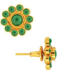 Spargz Antique Gold Plated Brass Metal Kemp Stones Stud Earring For Women AIER 302