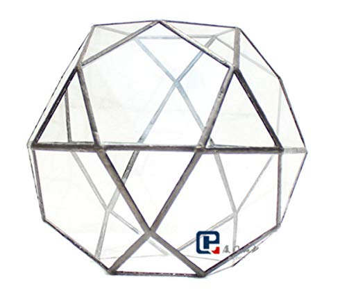 Dingsheng Glas Geometrische Kuppel Terrarium Dreieckige Pentagon Mix 32-Seiten Indoor Sukkulenten Luft Pflanzen Halter Balkon Miniatur Dekor HerzstückGeometrisches