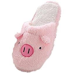 Sannysis Zapatillas Mujer Emoji Emoticon Zapatillas diseño del Cerdo (EU 40, Rosa)