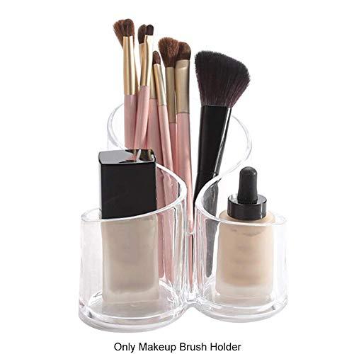 Tupfer Box (Make-Up Aufbewahrung Box-3 Fach Durchsichtig Kosmetik Pinsel Organizer-Storage Box für Kosmetik Pinsel/Lippenstift/Flüssiges Make-Up/Kamm/Baumwolle Tupfer - Bilder Show)