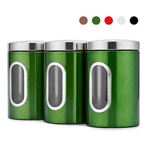 Blusea 3 Stück Vorratsdose Lebensmittel Aufbewahrungsbehälter Edelstahl Vorratsbehälter mit Deckel und Transparentem Sichtfenster für Tee, Getreide, Trockenfrüchten, Tiernahrung 1.5L (Grün)