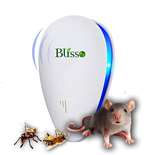 Blisso Ultrasonic Pest Repeller Best Pest Control Warrior Mouse Repellent Electronic Plug In Extreme Power Eco Friendly LED Device Outdoor/Indoor Eliminate All Types of Insects and Rodents Eco Safe