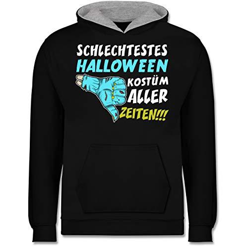 Shirtracer Anlässe Kinder - Schlechtestes Halloween Kostüm Aller Zeiten - 7-8 Jahre (128) - Schwarz/Grau meliert - JH003K - Kinder Kontrast Hoodie