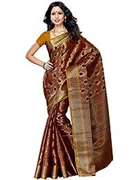Mimosa Women'S Art Kanchipuram Silk Saree With Blouse,Color:Chocolate(3190-164-CHO)