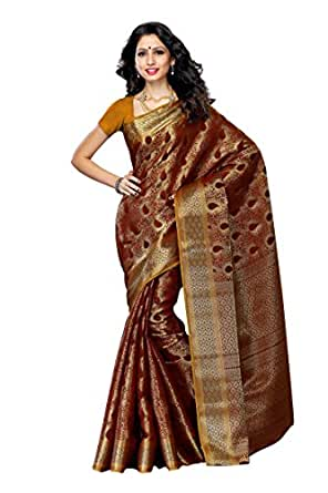 Mimosa Women'S Art Kanchipuram Silk Saree With Blouse,Color:Chocolate(3190-164-CHO)