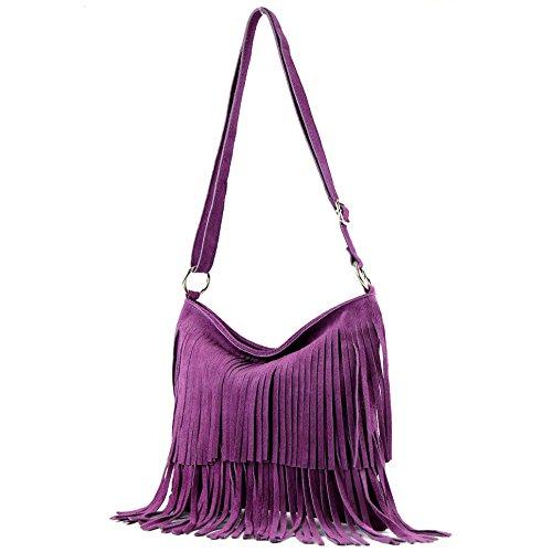 Borsa a mano borsa a tracolla shopping bag donna in vera pelle italiana T02 Lavendel