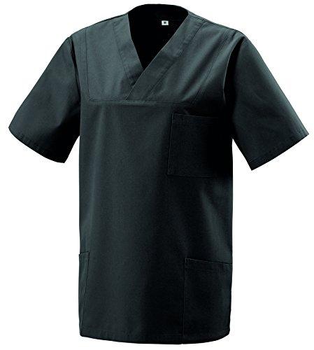 Schlupfkasack Kasack Schlupfjacke Schlupfhemd für Medizin und Pflege OP-Kleidung Schwarz Gr. L