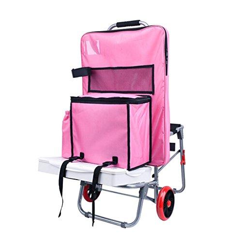 DELLT@ Anstrich-Werkzeug-Wagen / Sketcher-Multifunktionsmalerei-Auto- / Stahlrohr-Kunst-Zug-Rod-Auto / faltender Treppen-kletternder Wagen-Kunst-Test-Laufkatze / mit Seat-Anstrich-Taschen-Auto / Rosa / silber Optional