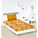 Amazon Brand - Solimo Floral Flakes 144 TC 100% Cotton Single Bedsheet with 1 Pillow Covers, Orange