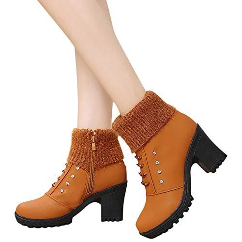TianWlio Frauen Herbst Winter Stiefel Schuhe Stiefeletten Boots Stiefel Schuhe Freizeit Reizvolle Knöchel Spitze Zehe Absatzschuhe Halten Warme Kurze Stiefel Braun 39