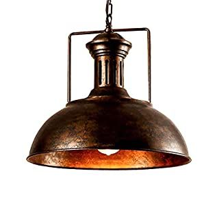 Vintage Pendant Lamp, Motent Industrial Nautical Style Barn Dome/Bowl Shaped Hanging Light, Antique Retro Iron Wrought Drop Lighting Fixture, 15.7
