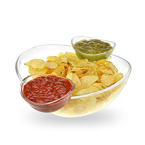 Pommes- und Dipschüssel-Set - großzügig große Schüssel und 2 abnehmbare Tassen für Dips - ideal für Salat, Chips, Dips, Salsa und andere Snacks Salat-chip
