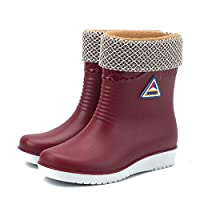 WSKMTX Rain Boots,Winter Warm Plus Velvet Water Shoes In The Tube Slip Rain Shoes Women Fashion Rain Boots Waterproof Wear Resistant Red Rubber Shoes For Music Festival