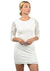 VERO MODA Ewelina Damen Etuikleid Mit Spitze Abendkleid Mit Rundhals-Ausschnitt Elastisch, Größe:M, Farbe:Snow White