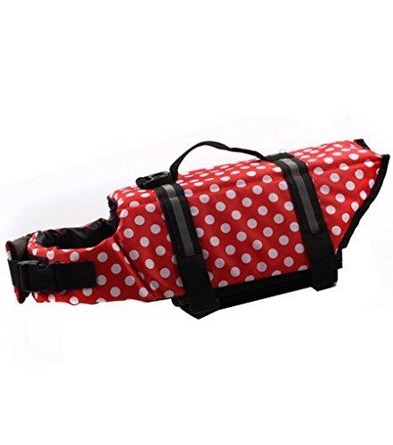 YOUJIA Hunde Warnweste Schwimmweste Schwimmhilfe für Hunde-Schwimmweste Rettungsweste Mantel Reflektoren Rot S