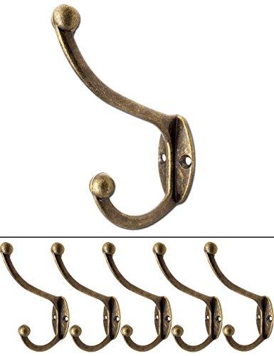 FUXXER® - Antik Haken | Garderoben-Haken Handtuch-Haken Kleider-Haken Hut-Haken | Guss-Eisen Messing Bronze Design | Vintage Landhaus Retro | 5er Set