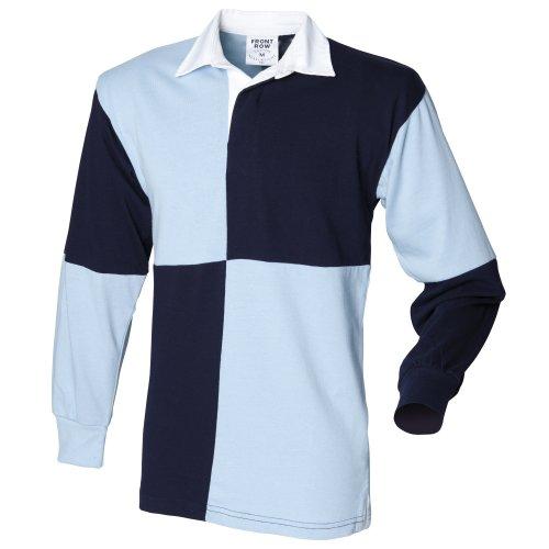 Front Row - Polo de rugby rayé à manches longues 100% coton - Homme (M) (Blanc/Bleu marine (col blanc)) Riz53ubB