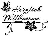 Wandtattoo-bilder Herzlich Willkommen Nr 1 Wandtattoo Flur Wandaufkleber Willkommen Schmetterlinge Farbe Silber, Größe 60x42