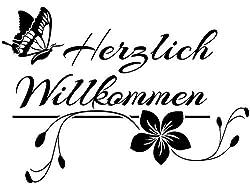 Wandtattoo-bilder Herzlich Willkommen Nr 1 Wandtattoo Flur Wandaufkleber Willkommen Schmetterlinge Farbe Braun, Größe 60x42