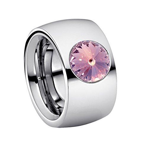 Heideman Ring Damen Coma 14 aus Edelstahl Silber farbend poliert Damenring für Frauen mit Swarovski Stein Kristall Lavendel im Fantasie Edelsteinschliff 10mm