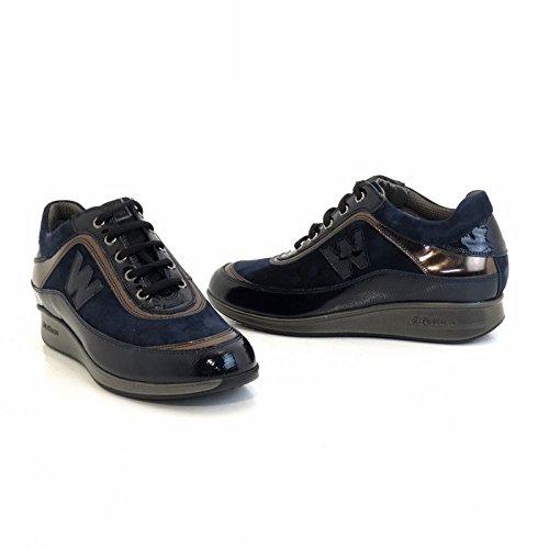 MELLUSO WALK Sneaker pour femme en daim et vernis blue r0024 Dark Blue