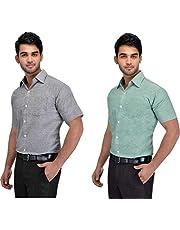 Khadi Vastra Men Solid Half Sleeve Cotton Formal Spread Shirt - Pack of 2