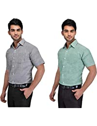 Khadi Vastra Men Solid Half Sleeve Cotton Formal Spread Shirt - Pack of 2