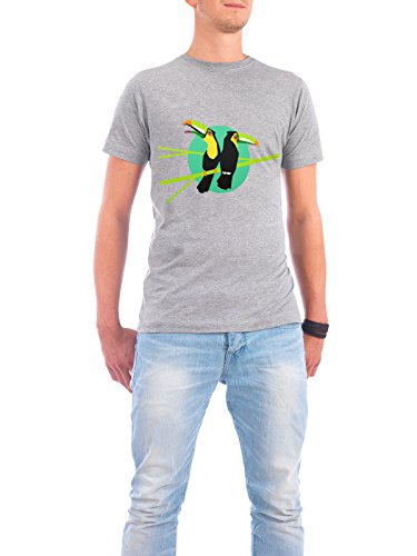 "Design T-Shirt Männer Continental Cotton ""Tropical Toucans"" - stylisches Shirt Tiere Natur von Pia Kolle Grau"