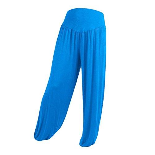 UFACE Beiläufige Yogahose-Laterne der Breiten Normallackfarbe Losen Breites Bein Keucht Baumwollweiche Yoga-Sport-Tanz-Pluderhosen (S, Himmelblau)