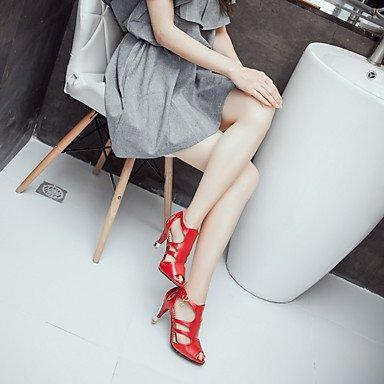 Talloni delle donne Primavera Estate Autunno Altro similpelle ufficio & carriera di feste ed abito da sera tacco a spillo con fibbia Nero Rosa Rosso Bianco Red