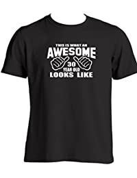 f902b456 This Is What An Awesome 30 Year Old Looks Like 30th Birthday Gift ideas for  Son Father Friend Mens funny t shirt slogan Birthday presents…