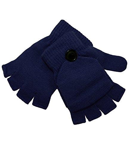 EveryHead Fiebig Mädchenhandschuhe Handschuhe Fingerhandschuhe Faushandschuhe Strickhandschuhe Winter 2in1 wandelbar einfarbig für Kinder (FI-78048-W16-MA0-16-4) in Marine, Größe 4 inkl Hutfibel