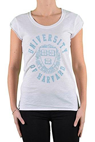 Bhell, T-Shirt Harvard, Cotone Fiammato, Manica Corta, Stampa Davanti In Azzurro, Made In Italy, Bianco, Tg L